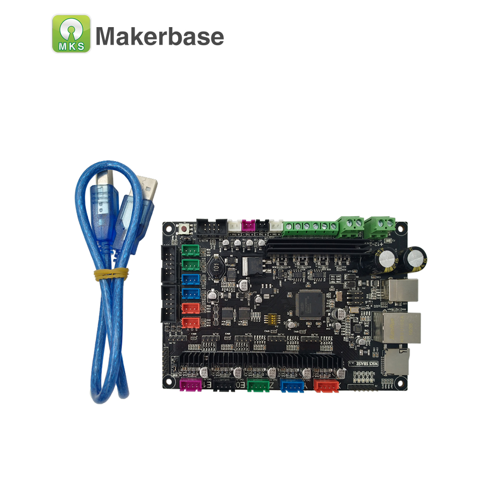MKS SBASE V1.3 CE & RoHS Platform lengan 32bit Smooth control board open source MCU-LPC1768 sokongan Ethernet preinstalled heatsink