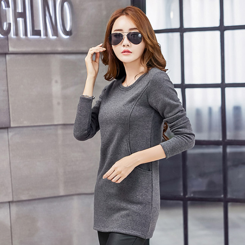 Camiseta Mujer Pockets Fashion cotton T Shirt Women 2019 Winter Long Sleeve Tshirt Women Korean Womens Tops O Neck T Shirt Femme in T Shirts from Women 39 s Clothing