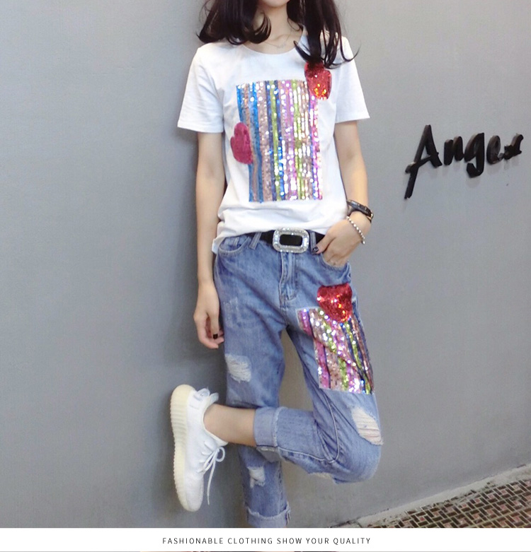 Summer Two Piece Sets Women Plus Size Short Sleeve Sequins Tshirts And Denim Ripped Jeans Sets Suits Casual Women's Sets M-5xl 41