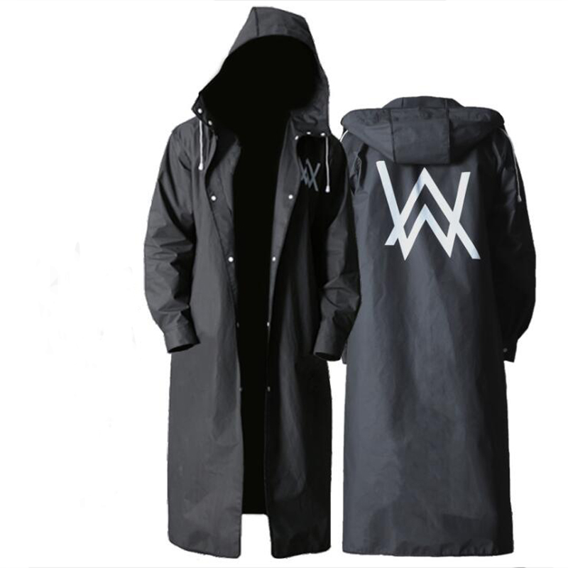 New Allen Walker Raincoat Fashion EVA Men's Long Raincoat Poncho Adult Black Raincoat Hiking Fishing Raincoat
