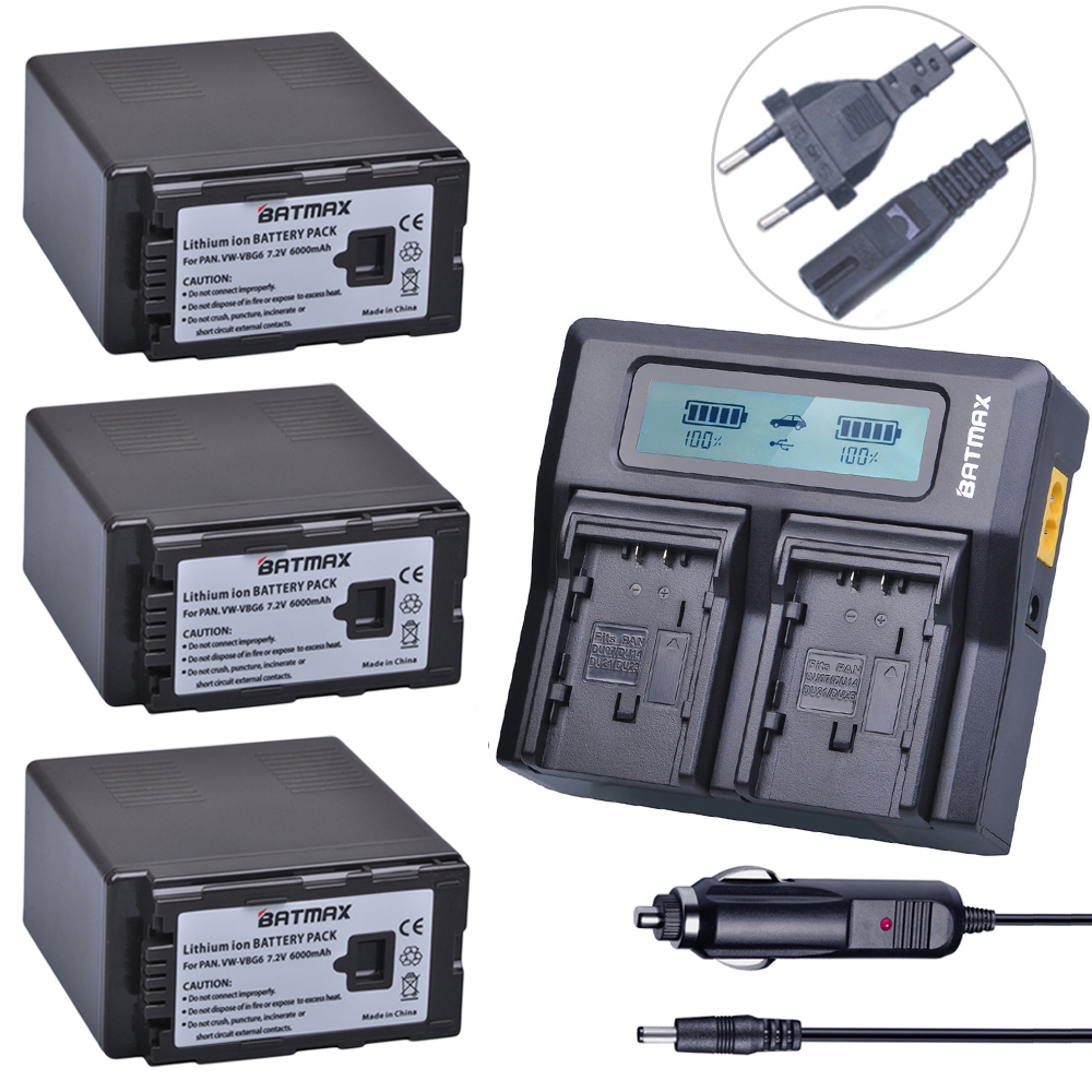 3Pc 6000mAh VW VBG6 VWVBG6 Rechargeable Camera Battery+Ultra Fast LCD Dual Charger for Panasonic AG-HMC154ER HMC154GK AGHMC154P 3 6v 2400mah rechargeable battery pack for psp 3000 2000