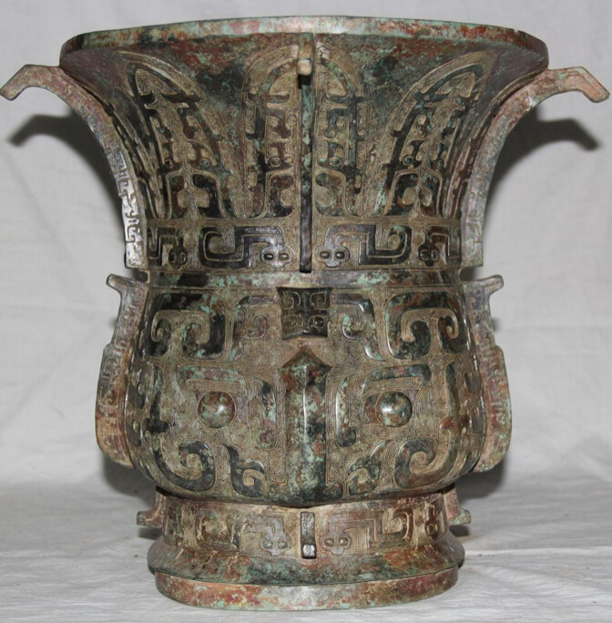 JP S0524 14 Archaic Chinese Dynasty Bronze Palace Beast Face Big Vase Bottle Crock Pot