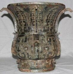 JP S0524 14 Archaic Chinese Dynasty Bronze Palace Beast Face Big Vase Bottle Crock Pot