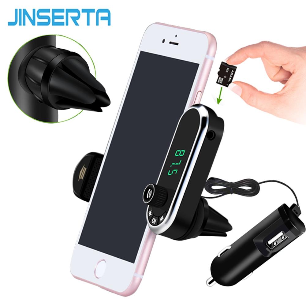 JINSERTA Hands Free Wireless Bluetooth FM Transmitter TF AUX Modulator Car Kit MP3 Player Air vent Holder Stand Car Phone Holder