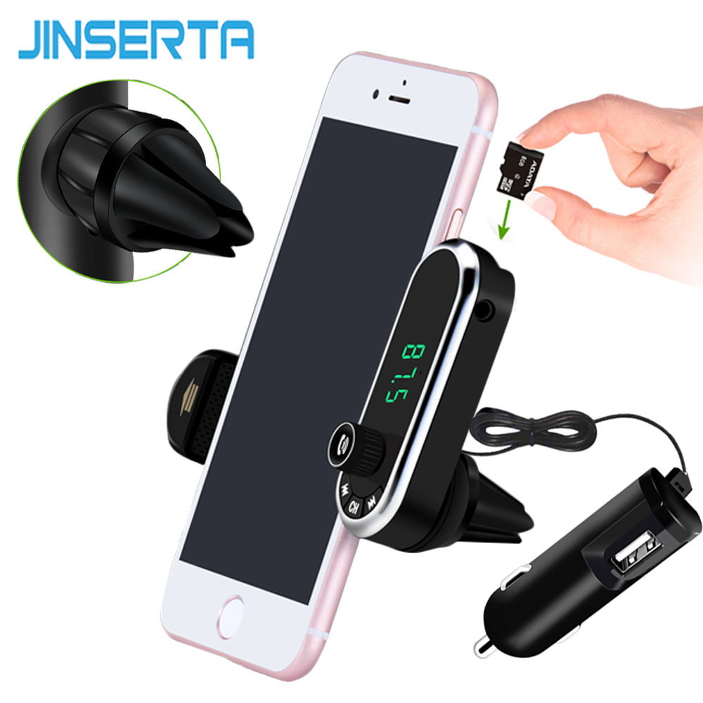 JINSERTA Hands Free Wireless Bluetooth FM Transmitter TF AUX Modulator Car Kit MP3 Player Air vent Holder Stand Car Phone Holder