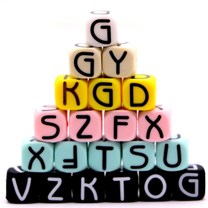 Mydear silicona carta Beads Baby Teether para cualquier nombre en los Clips de la cadena 10mm masticar granos del alfabeto collar Juguetes