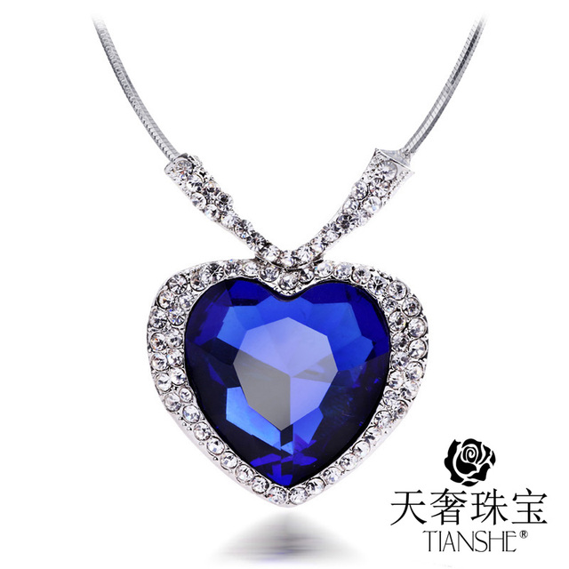 Dark blue heart pendants titanic crystal statement necklaces dark blue heart pendants titanic crystal statement necklaces fashion costume jewelry for women 3pcslot mozeypictures Images