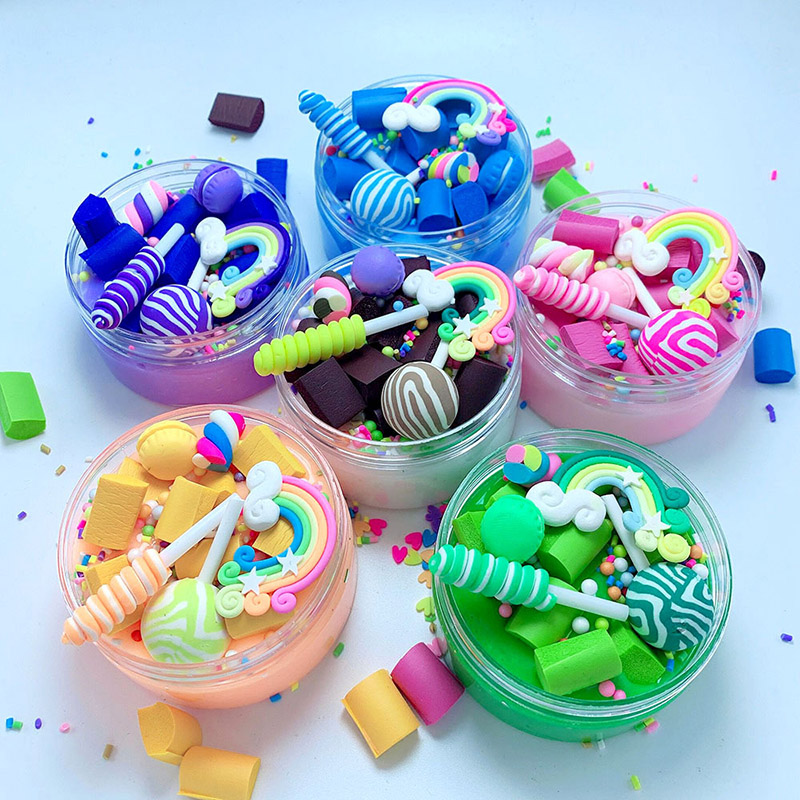 Rainbow Lollipop Charms Clear Slime Soft Clay Plasticine Toys Colorful Slime Kids Relief Stress Toy Fluffy Slime Educational Toy