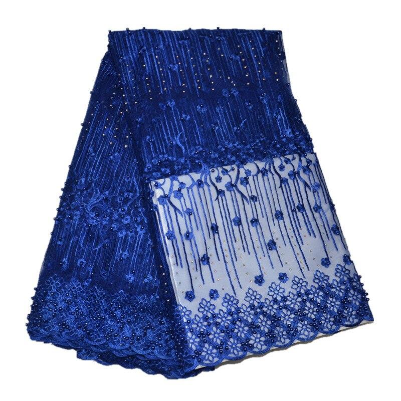 Aqua couleur africaine haute qualité Tulle français Net dentelle tissu avec perle et pierre pour la fête de la robe 5 mètres - 6