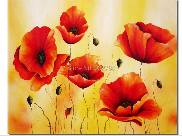 hand painted Canvas Art Painting yellow and Red Flowers Oil Painting ...
