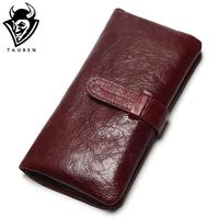 Women Dark Red Color Wallet 100 Top Genuine Oil Wax Cowhide Leather Long Bifold Wallets Purse