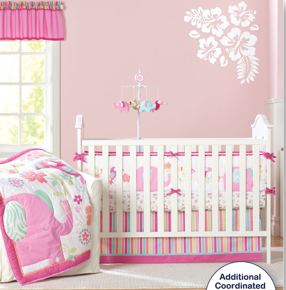 Baby girl cot bed bedding sets - 8 Pc Crib Infant Room Kids Baby Bedroom Set Nursery Bedding Pink Elephant Cot Bedding Set