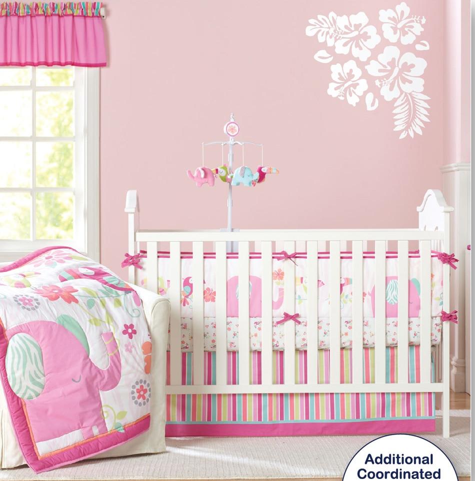 Baby bed newborn - 9 Pc Crib Infant Room Kids Baby Bedroom Set Nursery Bedding Pink Elephant Cot Bedding Set