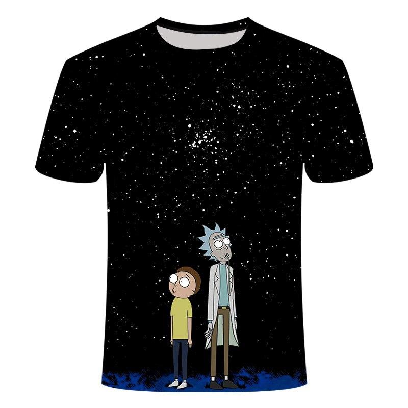 Rick e Morty Novo Anime t-shirt engraçado 3D t shirt Homens camiseta Verão Curto T-Shirt dos homens O Pescoço Tops Cool Anime vista para o céu
