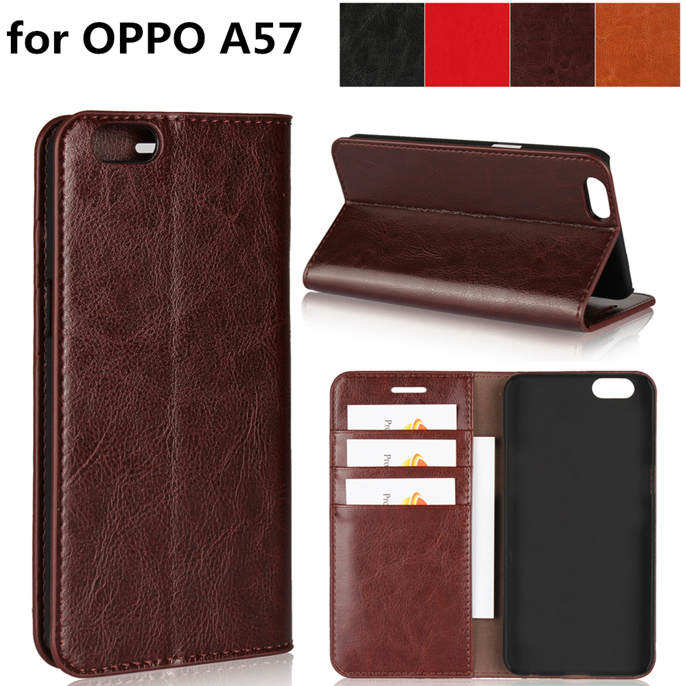 Deluxe Wallet Case For OPPO A57 premium leather Flip Case OPPO A57 Cover card slots Phone Bags