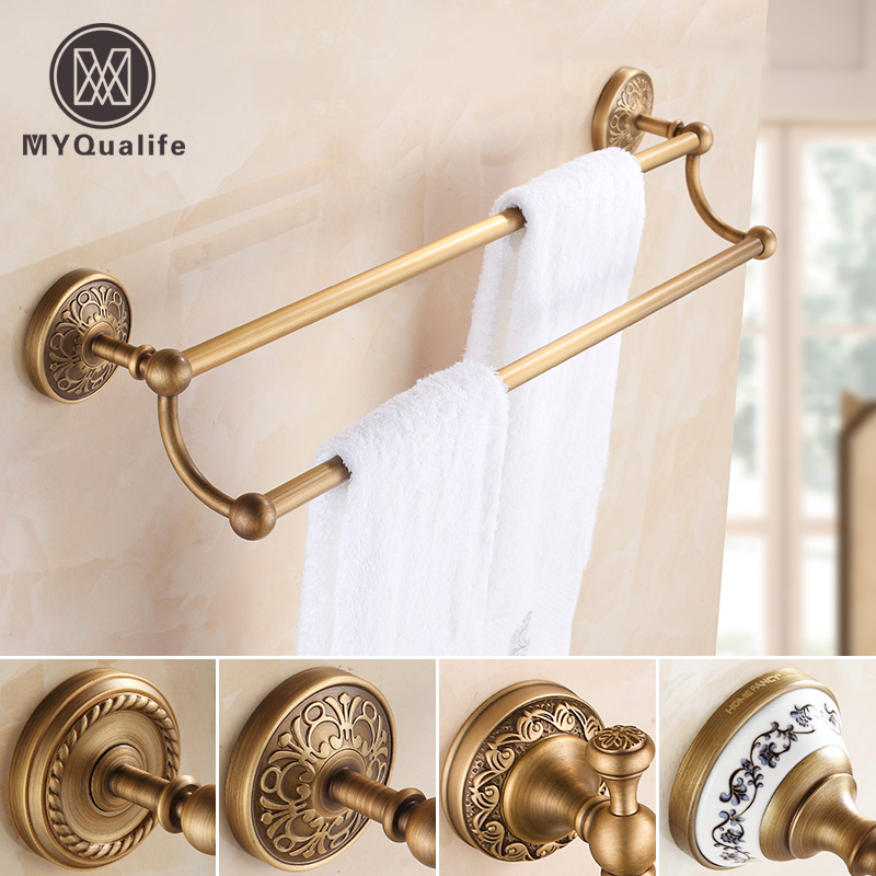 Best Quality Dual Towel Bar Towel Holder Towel Rack Antique Brass Bathroom Accessories wall mount artistic double towel bar antique brass bathroom good quality dual bar towel holder