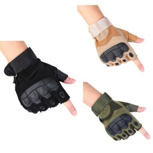 цена на Outdoor Sports Gloves Air Gun Shooting Tactical Gloves Knuckle Anti-slip Military Half Finger Gloves High Quality Rubber