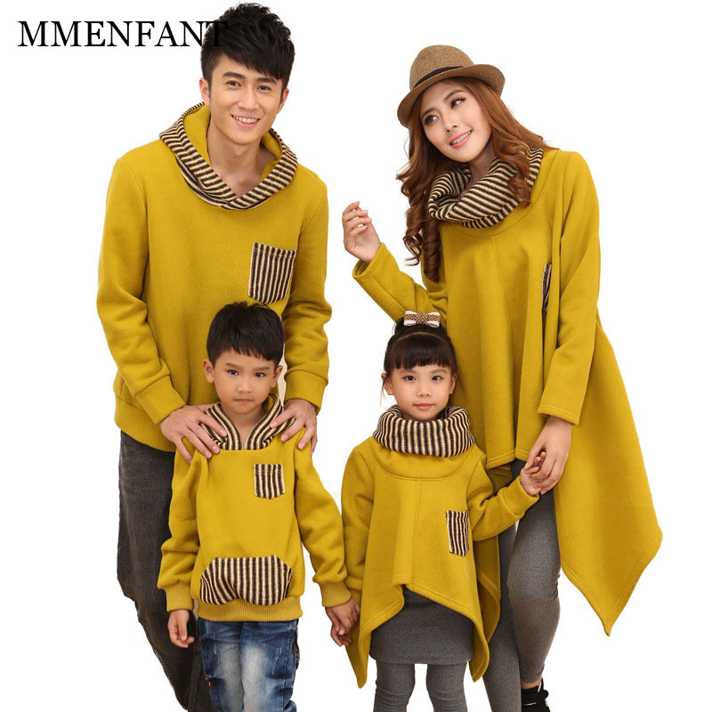 Winter new family christmas outfits father son Tops hoodie mother daughter dresses Yellow and black mother and daughter clothes babar and father christmas