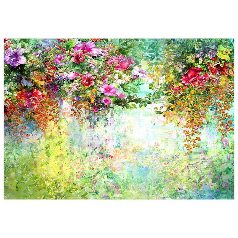 5x3ft Oil Painting Backdrop Green Watercolor Flowers Bloomy Garden Spring Scenery Background for Photography Photo Studio Prop