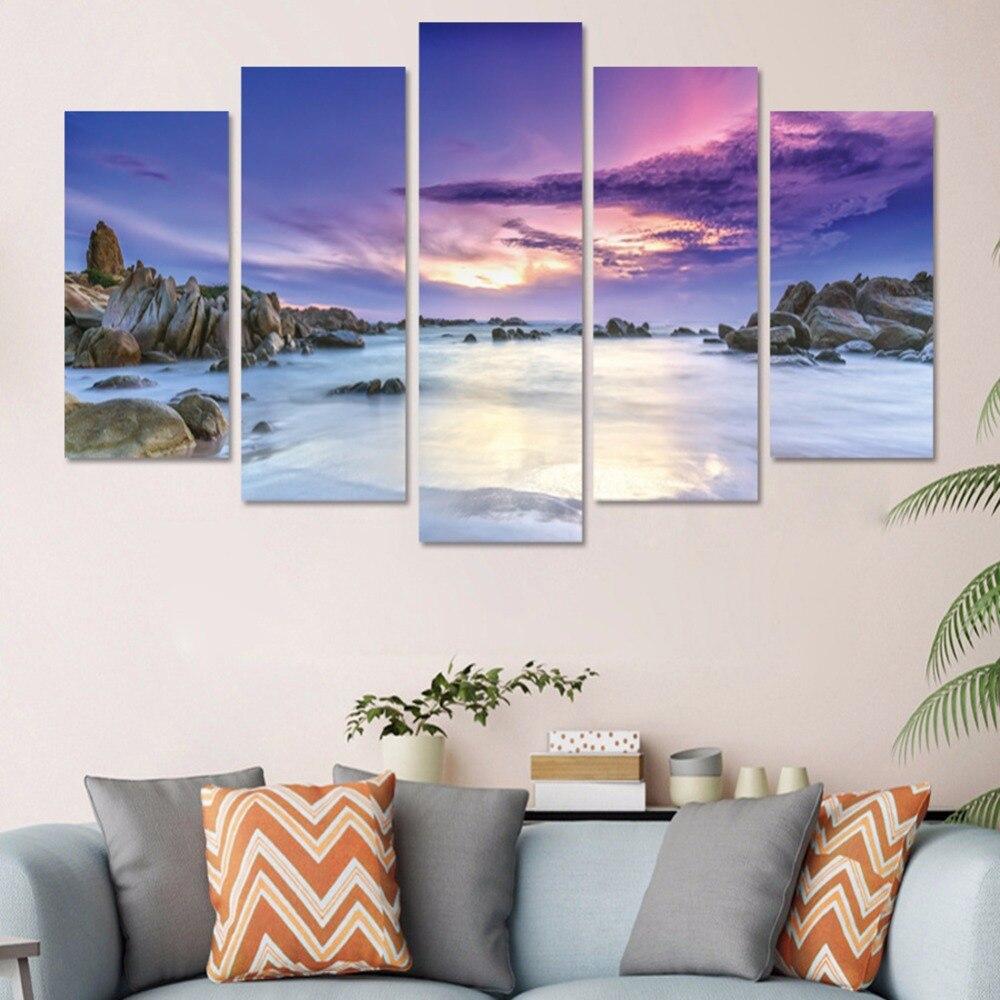New 5pcs/set Purple Sky Beach Combination 3D DIY Wall