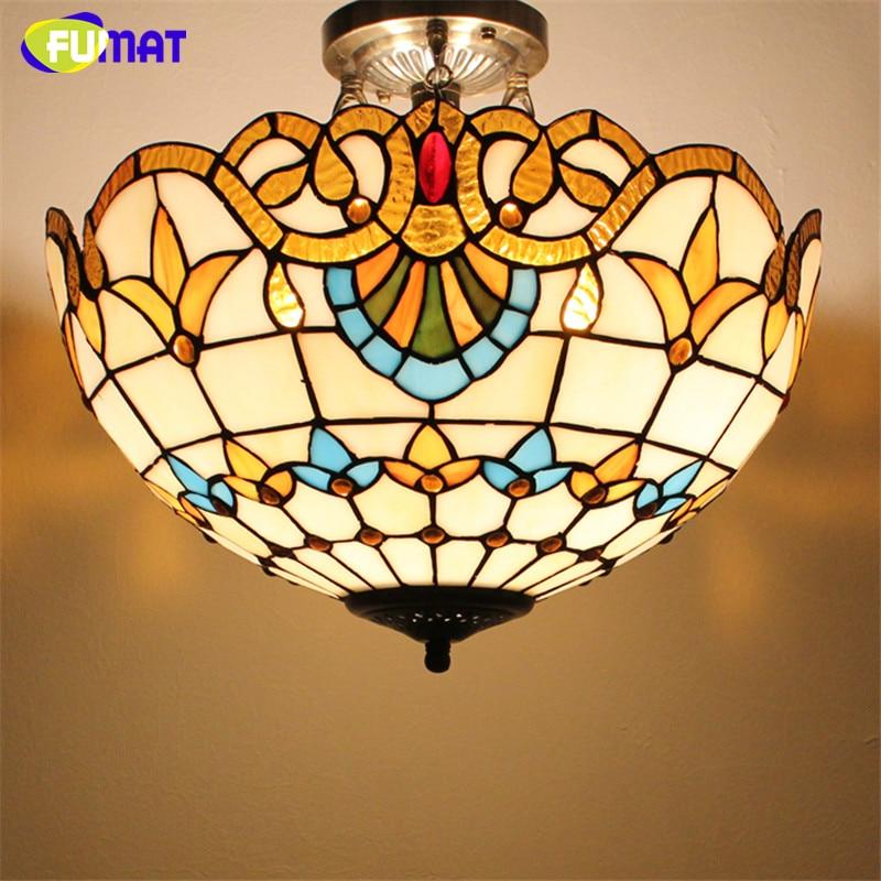 FUMAT Glass Art Ceiling Lamp Tranditional Suspension Lights Flower Baroque Restaurant Kitchen Hotel Project Light Fixtures