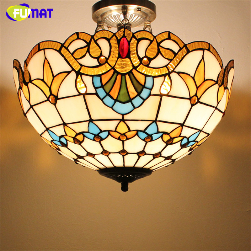 FUMAT Glass Art Ceiling Lamp Tranditional Suspension Lights Flower Baroque Restaurant Kitchen Hotel Project Light Fixtures fumat stained glass pendant lamp antique style baroque glass body flower shade restaurant suspension lampe hotel project lights