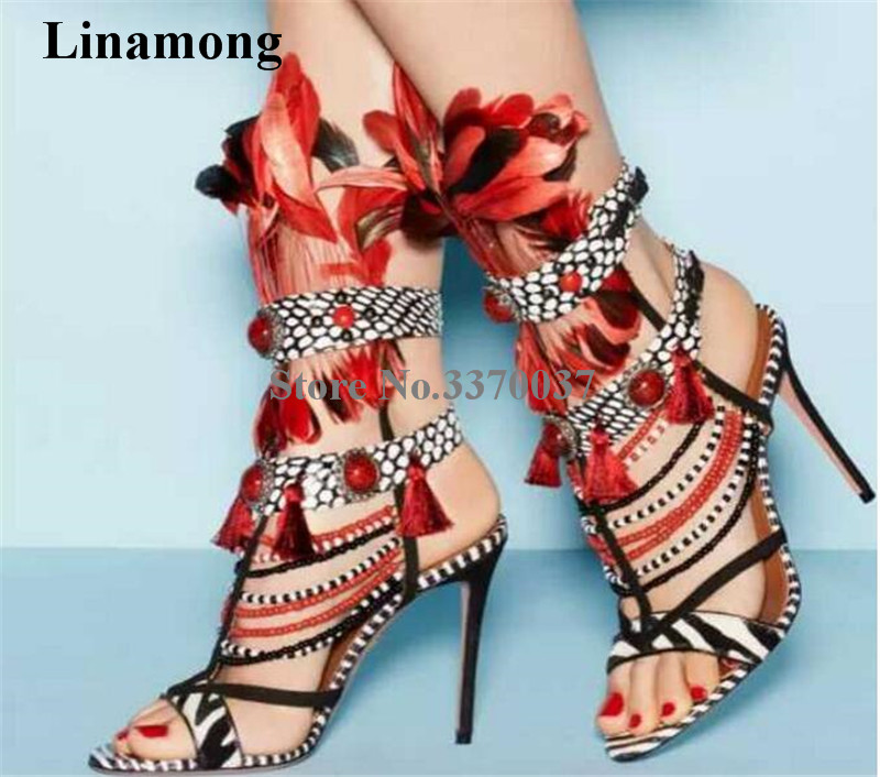 Women Charming Patchwork Color Straps Design Fur Gladiator Sandals Beads Stiletto Heel Mix-colors Stripes High Heel Sandals fashion women s sandals with metal and stiletto heel design