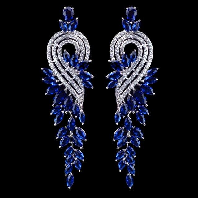 Elegant 8cm Long Design Black Green Red White Blue Zircon Dangle Earrings