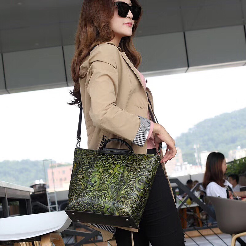 Embossing Flower Designer Genuine Leather Female Handbag Zipper Closure Women Sling Shoulder Bag Vintage Lady Black Green Purse