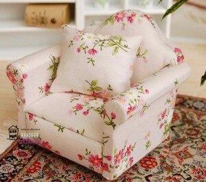 """Image 2 - 5.24 """"Dollhouse minyatür 1:12 oturma odası bebek mobilya kanepe seti 4 kanepe küçük kırmızı küçük çiçek tarzı"""