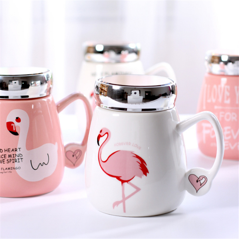 Girlish Flamingo Mug Travel Mug With Crystal Mirror Lid Portable Coffee Cup Also Can Be Tea Mug Mothers Day Gift Portable
