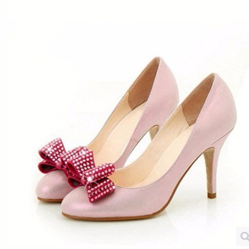 Ladies Larger sizes(4-15)Bowtie Sexy Rhinestone Closed Round toe genuine leather Thin high heels shoes Women pumps party wedding lady larger size 4 15 t strap buckle sexy closed round toe genuine patent leather thin high heels shoes women pumps party offce