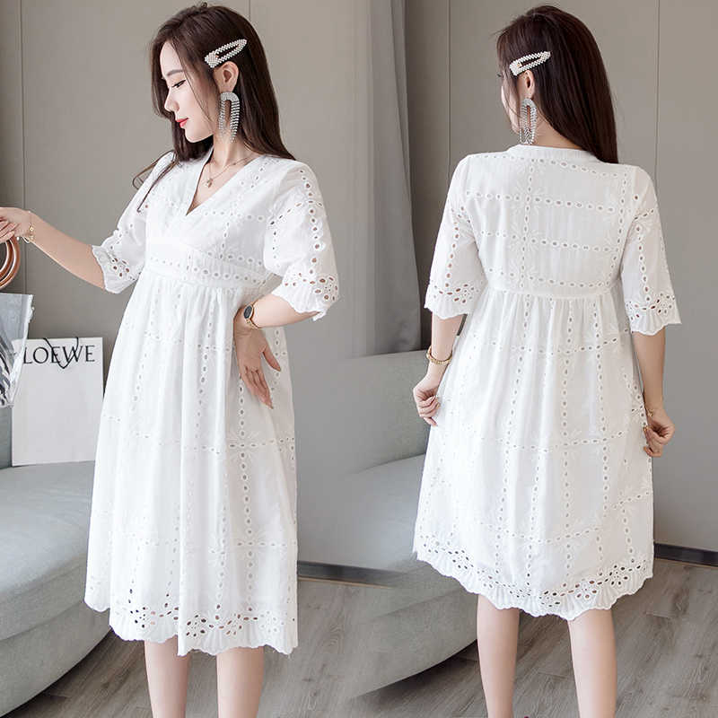 5321f1e4d88c5 ... 1696# White Lace Maternity Nursing Dress V Neck Slim Waist Bodycon  Clothes for Pregnant Women ...