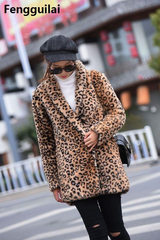 Хит продаж, новое зимнее корейское пальто из искусственного меха, толстый теплый Леопардовый норковый Тренч, сексуальные роскошные женские