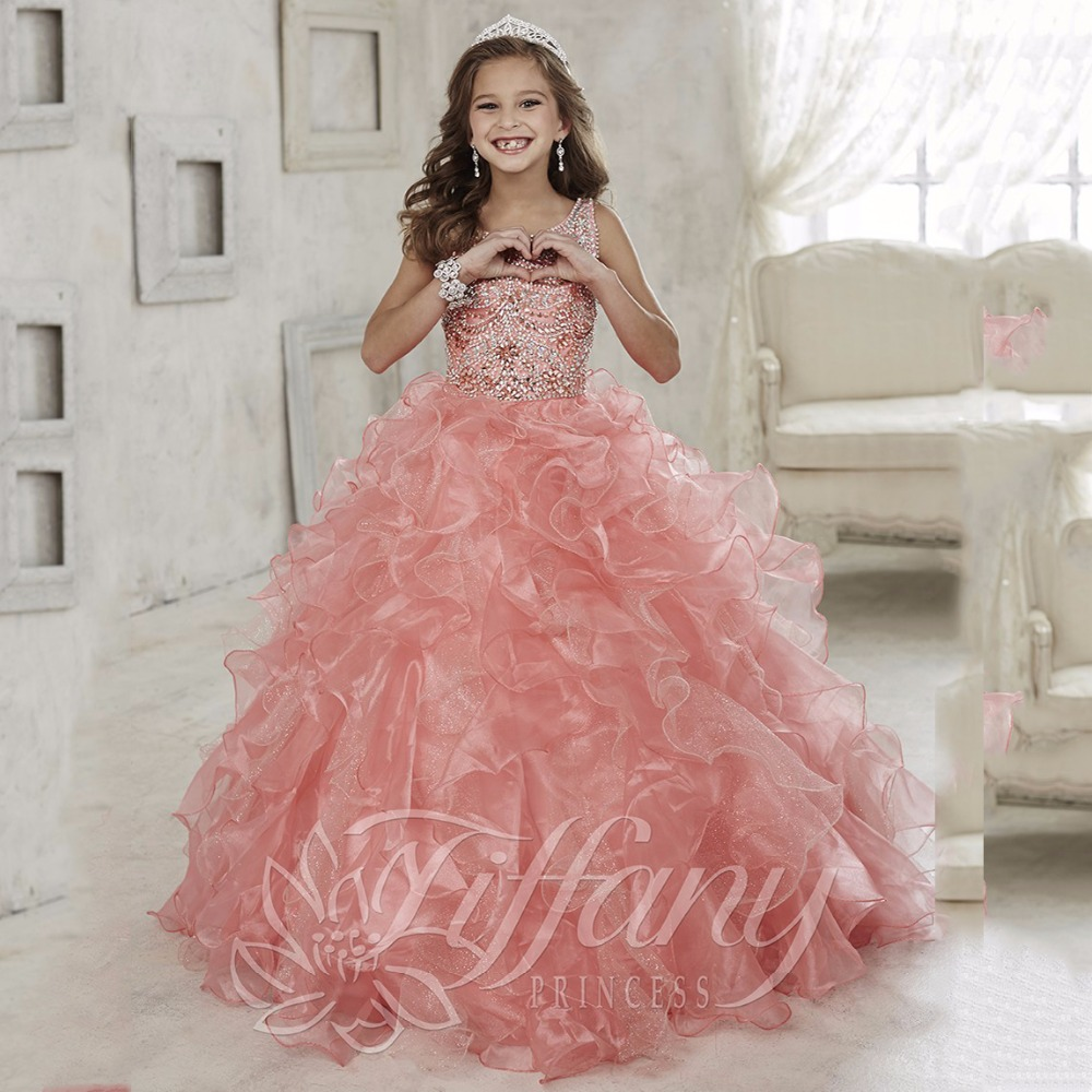Gowns For Girls: Gorgeous Beaded Crystal Girls Pageant Dresses 2016 First