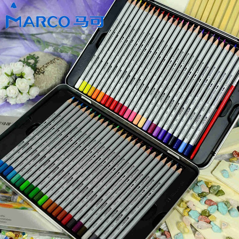 Original Marco Raffine Fine Art Watercolor Pencil 24/36/48/72 Water Soluble Pro Iron Boxed Color Pencils for Drawing Sketch 12 24 36 colors water soluble drawing color pencil set rotary watercolor pencils for drawing