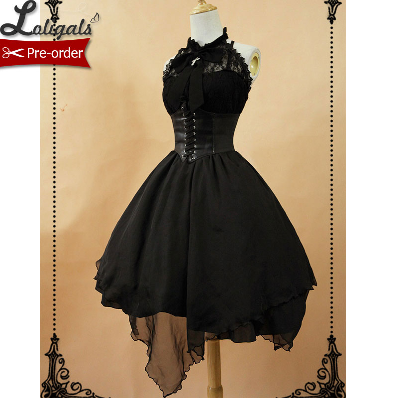 Gothic Sleeveless Lolita Dress Irregular Hem Halter Neck Midi Dress with Criss Cross Back by Soufflesong-in Lolita Dresses from Novelty & Special Use    1