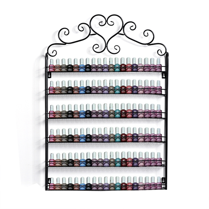 Exhibition Stand Organizer : Retro heart metal frame nail polish display stand cosmetic