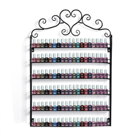 Retro Heart Metal Frame Nail Polish Display Stand Cosmetic Nail Shop Exhibition Shelf Makeup Organizer Storage