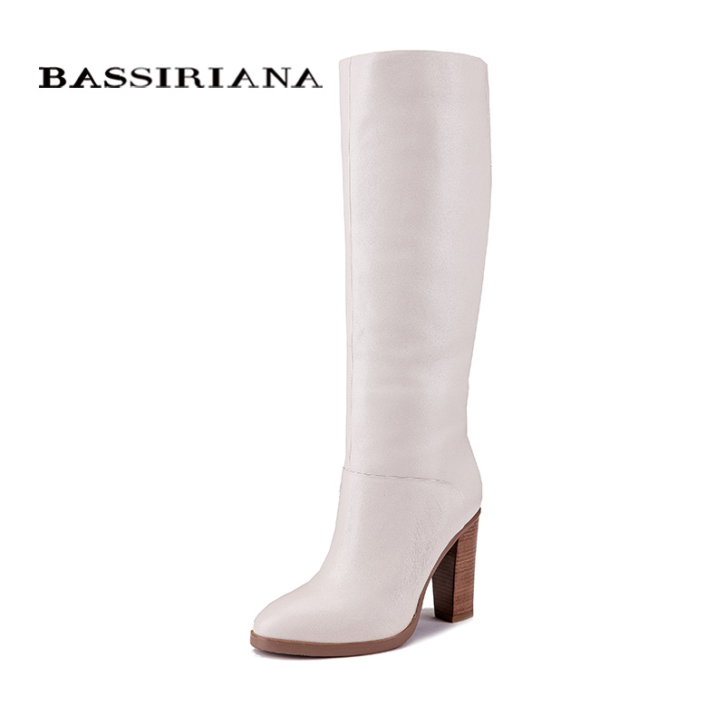 BASSIRIANA Fashion Winter casual Boots princess sweet women boot High-heeled shoes fashion Mid-calf boots double buckle cross straps mid calf boots