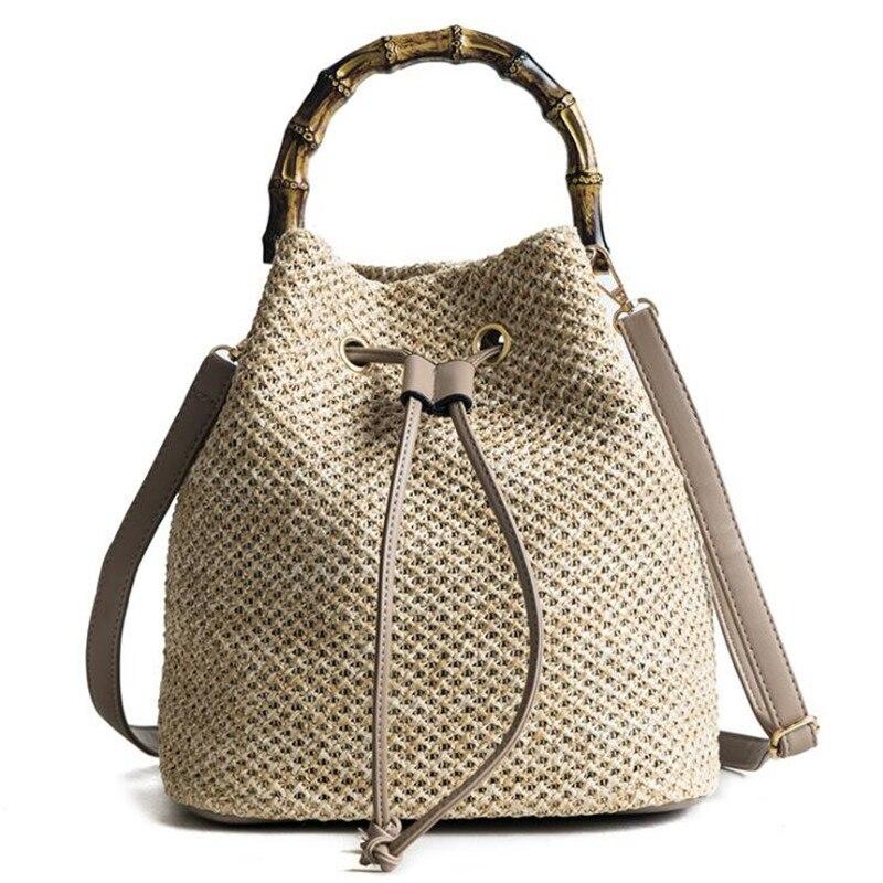 Radient Meloke 2019 New Women Handmade Straw Shoulder Bags Bamboo Handel Bucket Bags Summer Holiday Bags Drop Shipping Mn1054 Shoulder Bags