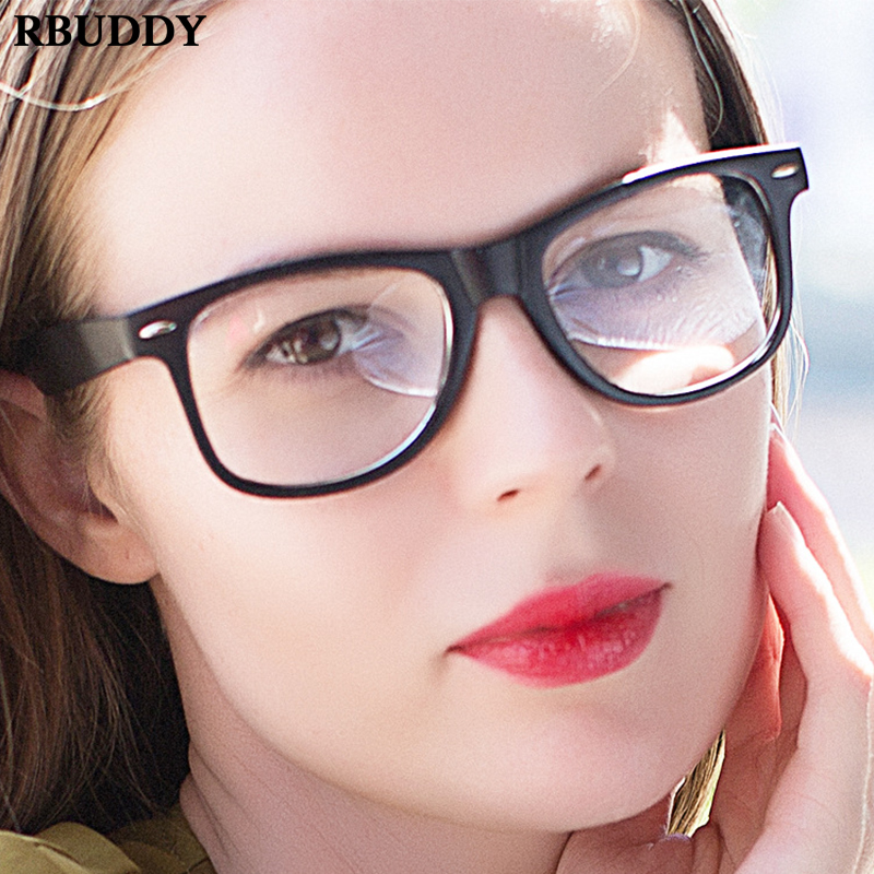 Vintage Black Classic Square Clear Glasses Frame Fake Glasses Computer Reading Glasses Clear Lens Women Optical Spectacles Frame