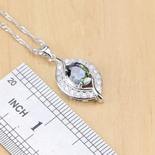 925 Sterling Silver Natural Mystic Rainbow Zircon Stone Jewelry Sets For Women Earrings/Pendant/Ring/Bracelet/Necklace Set