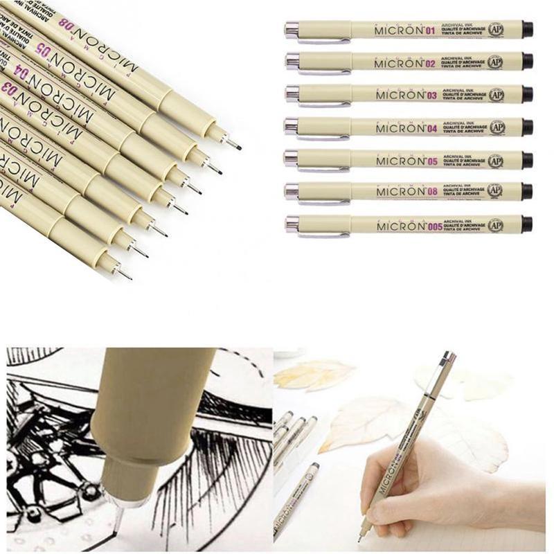 Pigma Micron Pen Needle Waterproof Drawing Sketch Pen 005 01 02 03 04 05 08 Black Art Markers Comic Designn Hook Line Pen