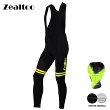 Zealtoo winter fleece Keep Warm Cycling Bib Trousers Thermal MTB Bike Pants Bicycle Tights Coolmax 3D Gel Pad Cycling pants недорого