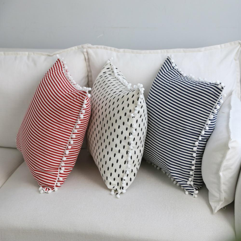 Japon Style Coton Lin Gemotric Taie d'oreiller Taie d'oreiller Taie D'oreiller Mignon Pom Pom Balle Accueil Textile 45*45 cm 1 PC
