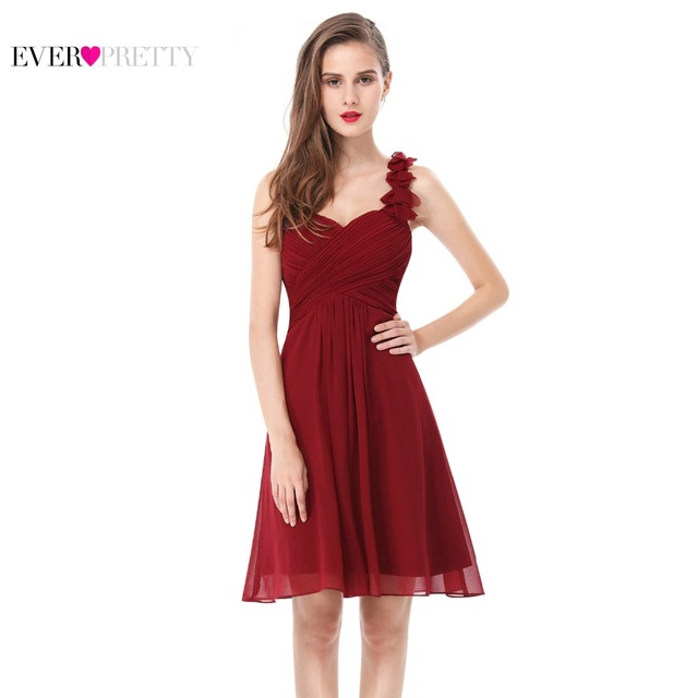 Cocktail Dresses Pink Chiffon Short Elegant Ever Pretty A Line One Shoulder EP03535 2017 New Arrival Special Occasion Dress