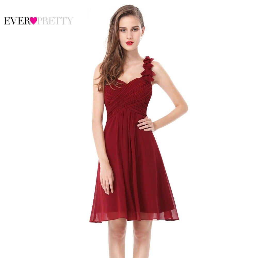 Vestidos de Cóctel Rosa chifón Vestidos cortos elegante siempre bonito EP03535 A línea 2018 ocasión especial vestidos de fiesta