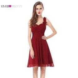 Vestidos de Cóctel Vestidos cortos de gasa Rosa elegantes siempre bonitos EP03535 una línea 2018 vestidos de ocasión para fiestas especiales