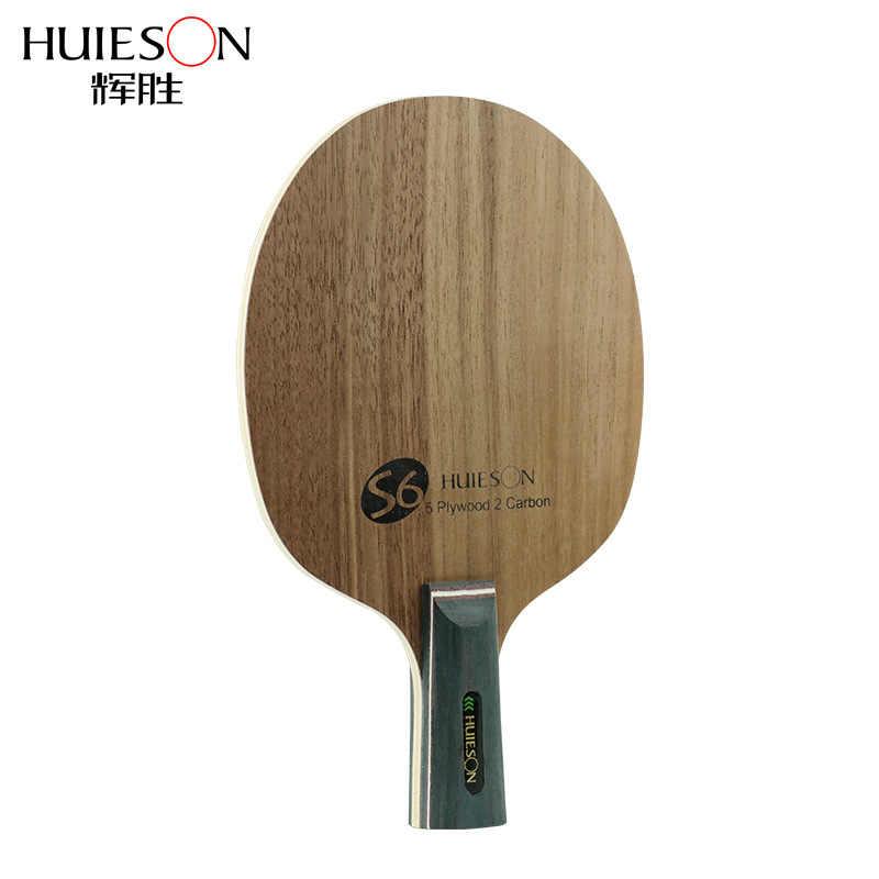 Huieson Kualitas Super Tenis Meja Raket Pisau Walnut Ayous 5 Kayu Lapis 2 Ply Karbon Ping Pong Blade untuk Pemain Senior s6